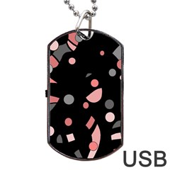 Pink and gray abstraction Dog Tag USB Flash (Two Sides)