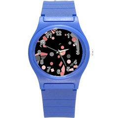 Pink and gray abstraction Round Plastic Sport Watch (S)