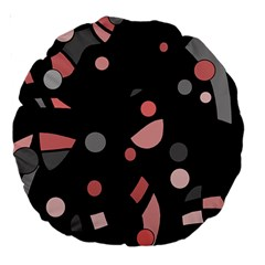 Pink and gray abstraction Large 18  Premium Round Cushions