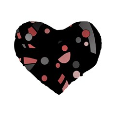 Pink and gray abstraction Standard 16  Premium Heart Shape Cushions