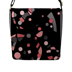 Pink and gray abstraction Flap Messenger Bag (L)