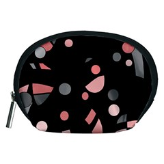 Pink and gray abstraction Accessory Pouches (Medium)