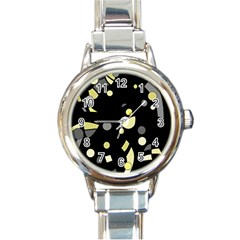Yellow and gray abstract art Round Italian Charm Watch