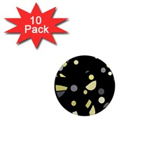 Yellow and gray abstract art 1  Mini Magnet (10 pack)