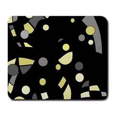 Yellow and gray abstract art Large Mousepads