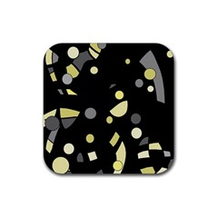 Yellow and gray abstract art Rubber Square Coaster (4 pack)