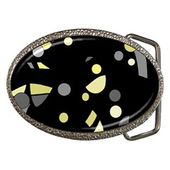 Yellow and gray abstract art Belt Buckles