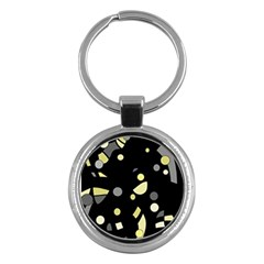 Yellow and gray abstract art Key Chains (Round)