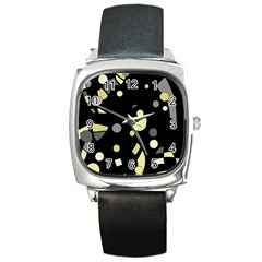 Yellow and gray abstract art Square Metal Watch