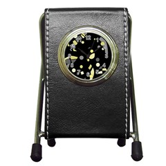 Yellow and gray abstract art Pen Holder Desk Clocks