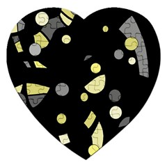 Yellow and gray abstract art Jigsaw Puzzle (Heart)