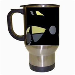 Yellow and gray abstract art Travel Mugs (White)