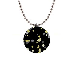 Yellow and gray abstract art Button Necklaces