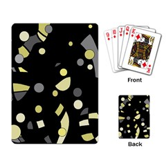 Yellow and gray abstract art Playing Card