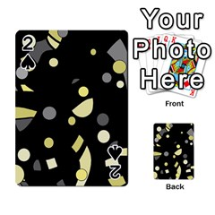 Yellow and gray abstract art Playing Cards 54 Designs