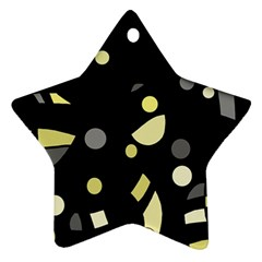 Yellow and gray abstract art Star Ornament (Two Sides)
