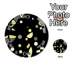 Yellow and gray abstract art Playing Cards 54 (Round)