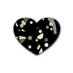 Yellow and gray abstract art Rubber Coaster (Heart)