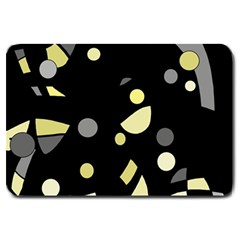 Yellow and gray abstract art Large Doormat