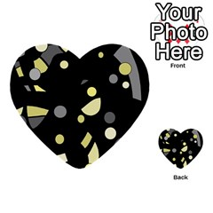 Yellow and gray abstract art Multi-purpose Cards (Heart)