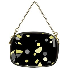 Yellow and gray abstract art Chain Purses (One Side)