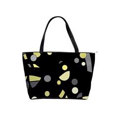 Yellow and gray abstract art Shoulder Handbags