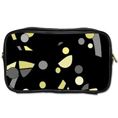 Yellow and gray abstract art Toiletries Bags 2-Side