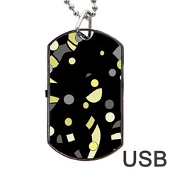 Yellow and gray abstract art Dog Tag USB Flash (Two Sides)