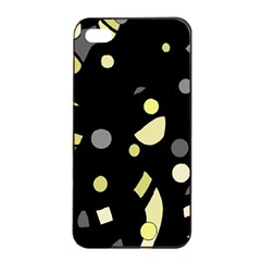 Yellow and gray abstract art Apple iPhone 4/4s Seamless Case (Black)