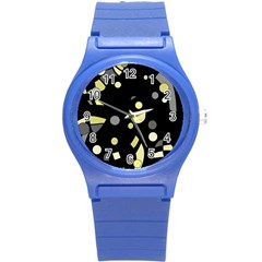 Yellow and gray abstract art Round Plastic Sport Watch (S)