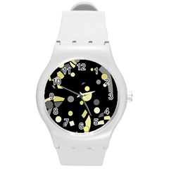 Yellow and gray abstract art Round Plastic Sport Watch (M)
