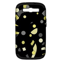 Yellow and gray abstract art Samsung Galaxy S III Hardshell Case (PC+Silicone)