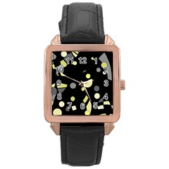 Yellow and gray abstract art Rose Gold Leather Watch