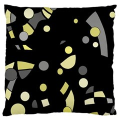 Yellow and gray abstract art Large Flano Cushion Case (Two Sides)