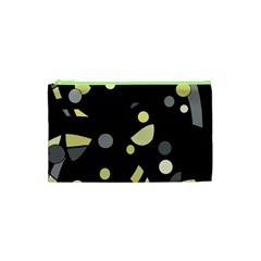 Yellow and gray abstract art Cosmetic Bag (XS)