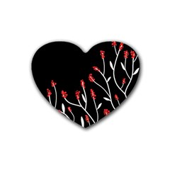 Elegant tree 2 Rubber Coaster (Heart)