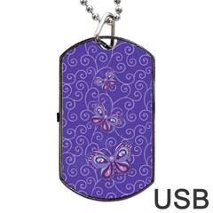 Butterfly Dog Tag Usb Flash (one Side)
