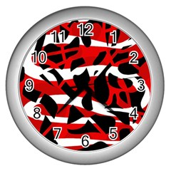 Red chaos Wall Clocks (Silver)