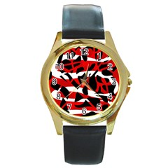 Red chaos Round Gold Metal Watch