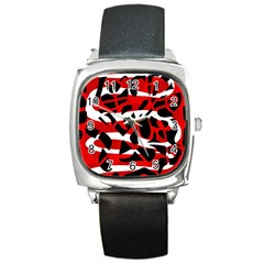 Red chaos Square Metal Watch