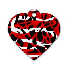 Red chaos Dog Tag Heart (Two Sides)
