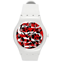 Red chaos Round Plastic Sport Watch (M)