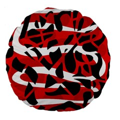 Red chaos Large 18  Premium Flano Round Cushions