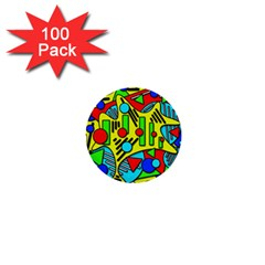 Colorful chaos 1  Mini Buttons (100 pack)