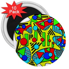 Colorful chaos 3  Magnets (10 pack)