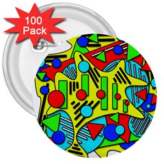 Colorful chaos 3  Buttons (100 pack)