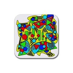 Colorful chaos Rubber Coaster (Square)