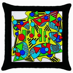 Colorful chaos Throw Pillow Case (Black)