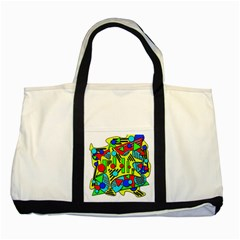 Colorful chaos Two Tone Tote Bag