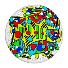 Colorful chaos Round Filigree Ornament (2Side)